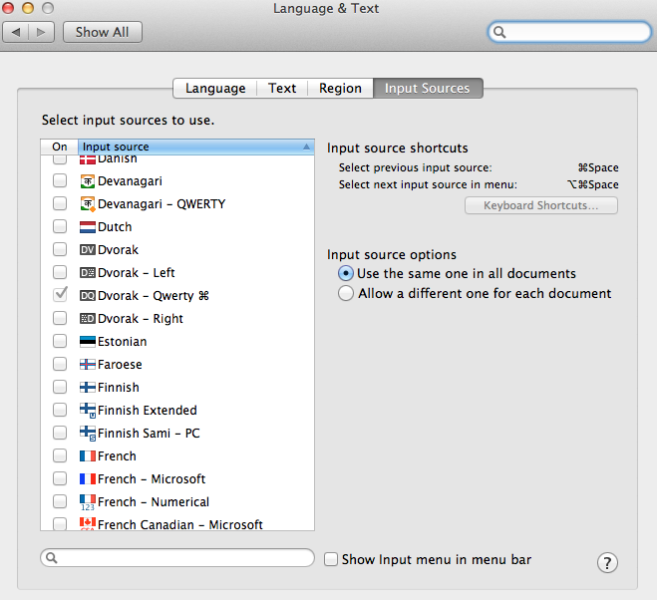 Changing the input source on OSX